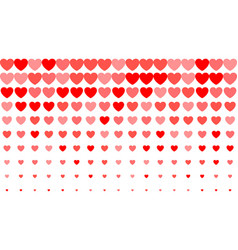 heart halftone background red hearts on white vector image