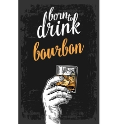 Male hand holding a glass with bourbon and ice vector