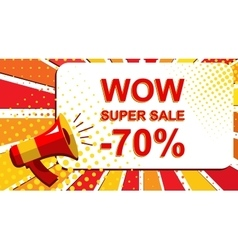 Megaphone with wow super sale minus 70 percent vector
