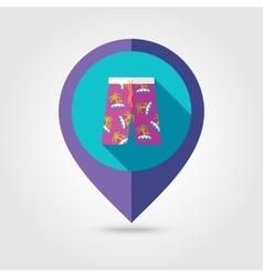 Men beach shortsl flat mapping pin icon vector