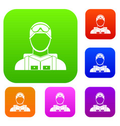 Military paratrooper set collection vector