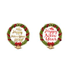 New year 2017 christmas wreath set vector