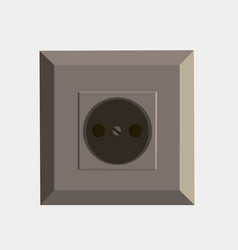 power socket flat icon isolated front view vector image vector image