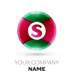 realistic letter s logo in colorful circle vector image