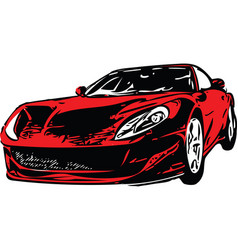 Red sportscar vehicle silhouette vector