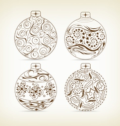 set of christmas balls doodle for design vector image vector image