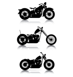 set of motorcycle silhouettes vector image