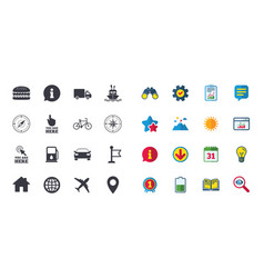 Set of navigation and gps icons vector