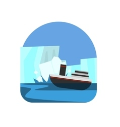 Ship hitting the iceberg natural force sticker vector
