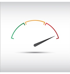Simple tachometer with indicator in red part vector image vector image