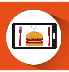 Smartphone order burger food online vector