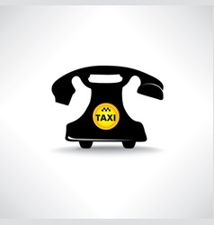 taxi sign call taxi icon retro phone with circle vector image