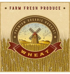 Vintage colorful wheat harvest label vector image vector image