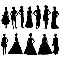 Women silhouettes in various dresses vector image
