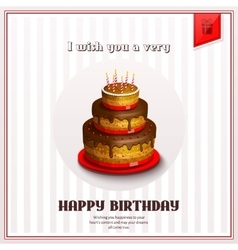 Happy birthday greeting card with birthday cake vector