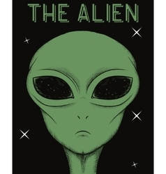 Face of green alien isolated on black background vector