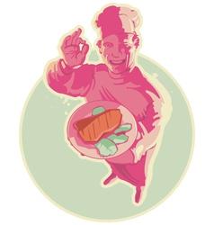 Smiling cook in pink lighting vector image