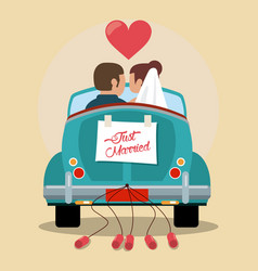 Just married couple in love car vector
