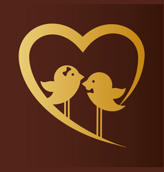 Bird couple married gold heart card vector