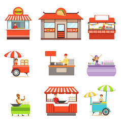 Street food kiosk set on wheels and without with vector