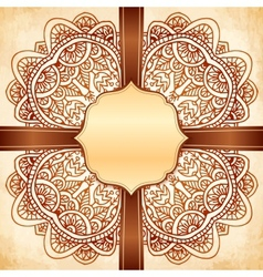 Ornate vintage background with brown ribbon vector