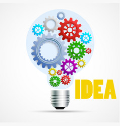 Bright idea light bulb with cogs and gears vector