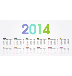 2014 calendar weeks start with sunday vector image vector image