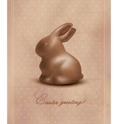 Easter background with a chocolate bunny vector image