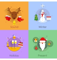 Christmas flat set vector