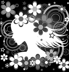 Abstract black and white backgrund with woman vector