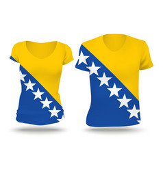 Flag shirt design of bosnia and herzegovina vector