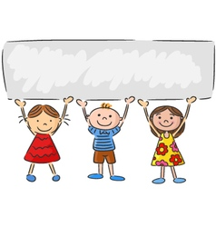 Cartoon little kids holding banner vector