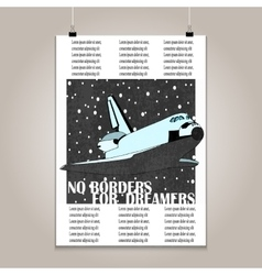 Vintage poster with high detail shuttle vector