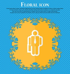 Businessman floral flat design on a blue abstract vector