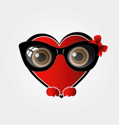 A red heart with black spectacles vector
