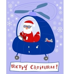 Santa claus steers in a helicopter vector