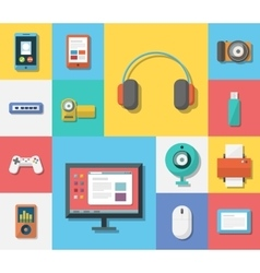 Electronics flat icons vector