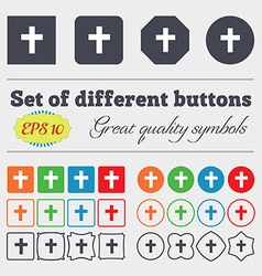 Religious cross christian icon sign big set of vector