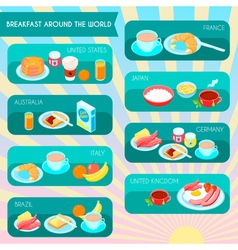 Types of breakfast infographic vector