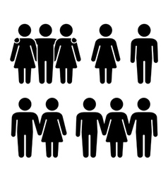 Alone couple and threesome human icons set vector
