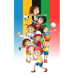 Poster of children doing different sports vector