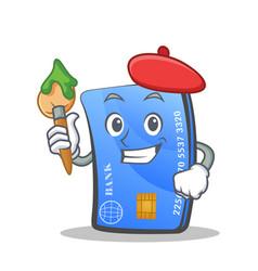 Artist credit card character cartoon vector