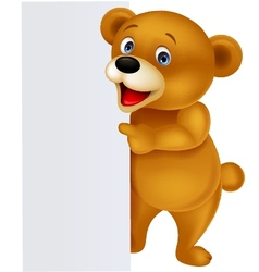 Bear with blank sign vector image