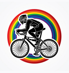 Bicycle racing sport man biking vector