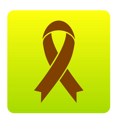 Black awareness ribbon sign brown icon at vector