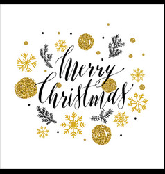 Calligraphic merry christmas with snowflakes vector
