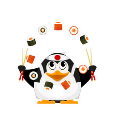 Chef of japanese cuisine small young penguin vector