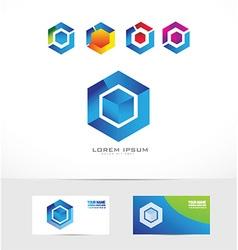 Cube rhombus logo icon vector