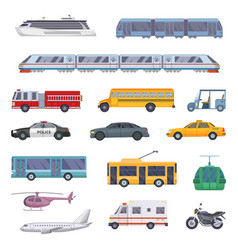 different municipal transportation set vector image vector image