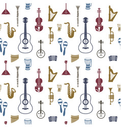 digital blue red music instruments vector image vector image
